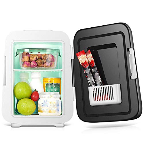 Lieling Mini-koelkast, draagbaar, met drukknop, warme en koude functie, compact, laag energieverbruik, mini-koelkast, 50 W, 12 V, 220 V, voor auto, camping, kantoor, reizen