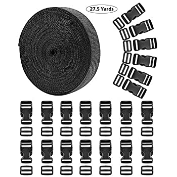 1 Inch 27.5 Yards Nylon Webbing Straps with 20 Set 1 Inch Flat Side Release Plastic Buckles and Tri-Glide Slides for DIY Making Luggage Strap Pet Collar Backpack