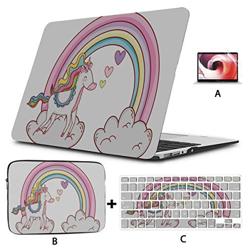 15 Inch Laptop Case Cute Baby Unicorn With Colorful Rainbow Cloud 15 Inch Laptop Cover Hard Shell Mac Air 11'/13' Pro 13'/15'/16' With Notebook Sleeve Bag For Macbook 2008-2020 Version