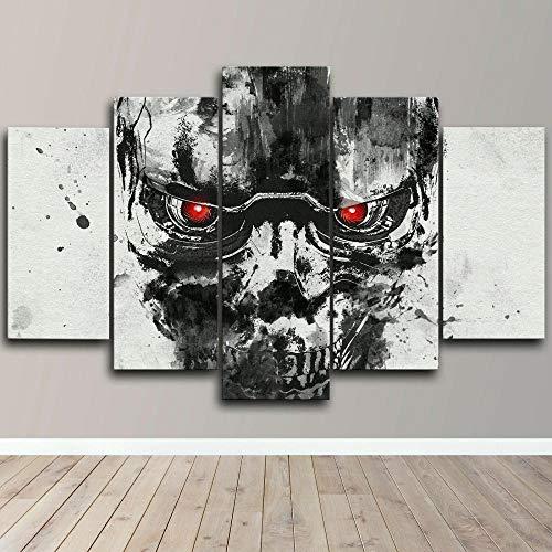 IIIUHU Cuadro sobre Impresión Lienzo 5 Piezas -Mural Moderno 5 Piezas,Terminator Robot Fanart Dormitorios Decoración para El Hogar -No Tejido Lienzo Impresión- Modular Poster Mural-Listo para Colgar