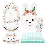 LinTimes - Set per 16 ospiti, a forma di coniglio e uova di Pasqua, piatti di carta, tovaglioli, bicchieri di carta