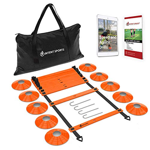 INTENT SPORTS Pro 20ft Speed Agility Ladder & 10 Cones Training Set - Exercise Workout Equipment to Boost Speed, Coordination, Footwork, Explosiveness - Soccer, Football, Basketball, Lacrosse, Hockey