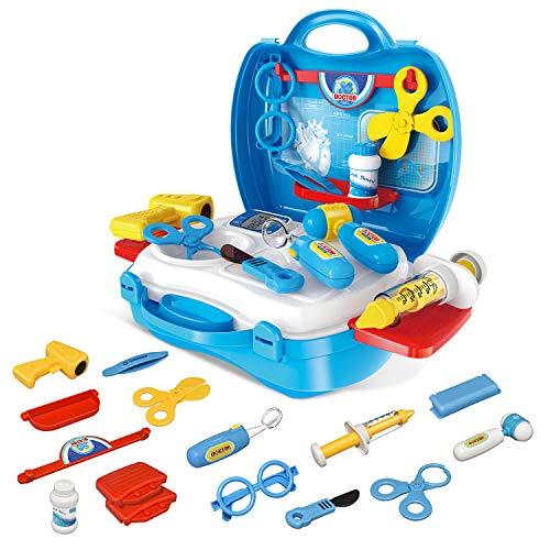 EUTOYZ Divertidos juguetes para niños para niños de 3, 4, 5, 6, 7, 8 años, juguetes médicos de juego de rol, juguetes educativos para niños, regalos para niños de 3, 4, 5, 6, 7, 8 años, color azul