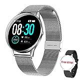 HopoFit Reloj Inteligente para Mujer y Hombre, Smartwatch de Android iOS Phone con monitoreo de frecuencia cardíaca/sueño, Seguimiento de Actividad física, IP67 Reloj Impermeable (Silver)