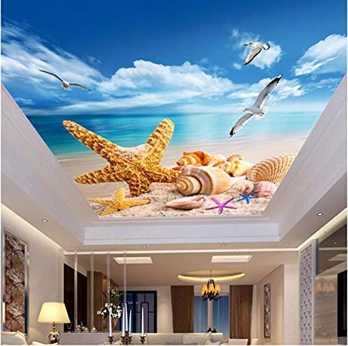 Newberli Papel Tapiz Fotográfico Personalizado En 3D, Mural Para Suelo De Techo, Playa, Estrella De Mar, Aves Marinas, Arte De Pared Para Sala De Estar Para Decoración De Dormitorios