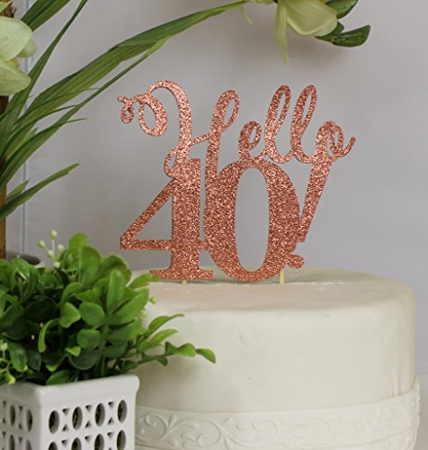 All About Details Copper Hello 40 Cake Topper, 6in wide, 5in tall plus 4in skewers