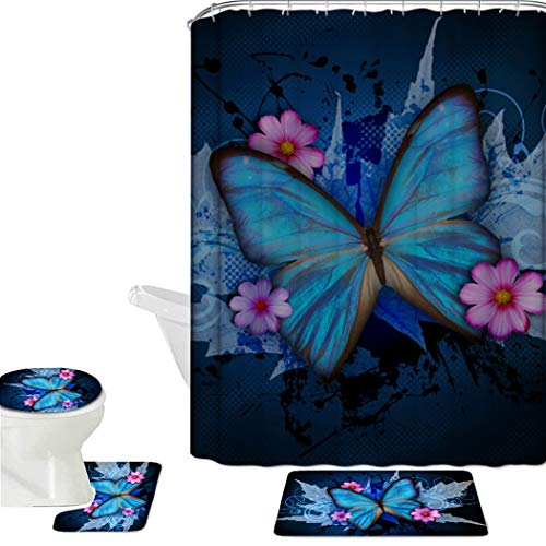 HUGS IDEA Blue Butterfly 16 Piece Bathroom Mat Set Shower Curtain Sets Non Slip Soft Bath Mat + Contour Mat + Toilet Cover + Shower Curtain + 12 Hooks