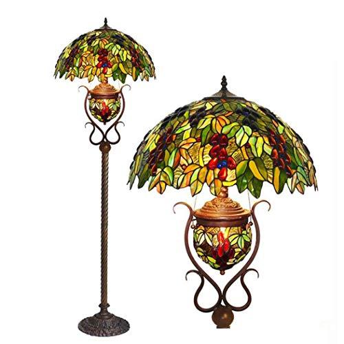 GJX staande lamp in Tiffany-stijl, 18 inch (18 inch) (design van glas/druif, handgemaakt), retro-vloerlamp met metalen sokkel bronskleurig voor binnenverlichting, E27X2, E12X1