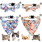 4 Pieces Bow Tie Bandana, Breakaway Flower Pattern Cat Collar with Scarf and Bow Tie, Collar Bandana Bells for Cat (Blue & Orange)