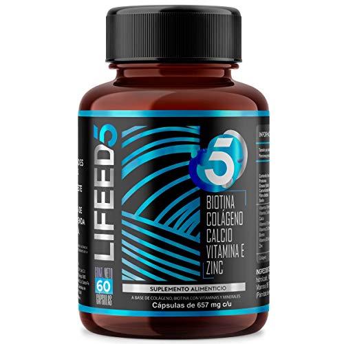 LF5 MEN HAIR Biotina Colageno Hidrolizado Zinc Vitamina E, D y Calcio | Cápsulas 60 Días | LIFEED5 Cabello Barba Hombres | Ing Naturales Sin Minoxidil | Lifeed Just for men (Vitamina D3, Biotin)