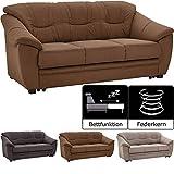 Cavadore 3-Sitzer Sofa Savana / 3er Sofa mit Federkern im klassischen Design / inkl. Bettfunktion / 198 x 90 x 90 / Mikrofaser in Lederoptik Braun