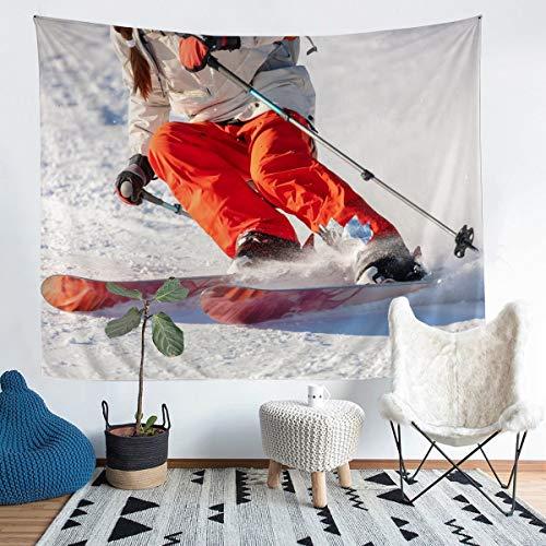 Manta de esquí de pared para niños, niñas, adolescentes, decoración de invierno, deportes de esquí, para colgar en la pared, paisaje de la nieve, manta de cama mediana de 128 x 152 cm
