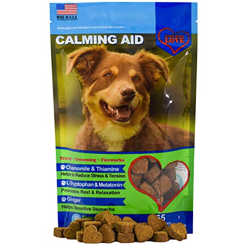 Calming Treats for Dogs  Melatonin L Tryptophan Chamomile Flower Passion Flower and Thiamine Mononitrate