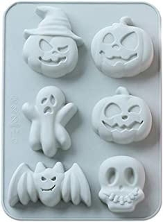 KCPer Halloween DIY Silicone Cake Shape Mold Cartoon Ghost Print Bite-Size Mold for Chocolate Cake Jelly Pudding Handmade Soap Ice Cube Muffin Cups (Blue)