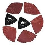 HSeaMall 25 Stück Schleifblatt Set Dreieck Schleifkissen 60/80/120/180/240 Schleifpapier Multitool Schleifpapier Oszillierendes Schleifblatt mit Schleifkissen 2St