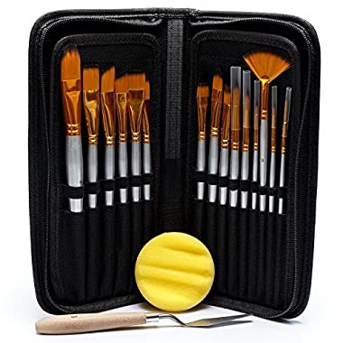 Artist Paint Brush Set – 15 Different Shapes & Sizes – FREE Painting Knife & Watercolor Sponge – No Shed Bristles – Wood Handles – For Body Paint, Acrylics & Oil