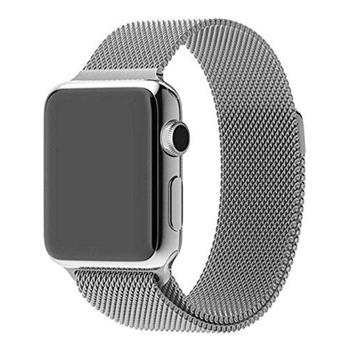 Pulseira Aço Inoxidável Milanese para Apple Watch 40mm e 38mm - Marca Ltimports (Prata)