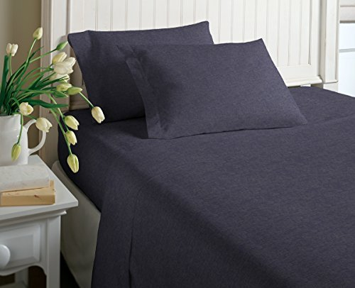 Cotton Rich T-Shirt Soft Heather Jersey Knit Sheet Set - All Season Bed Sheets,, Warm and Cozy by Morgan Home (Queen, Heather Indigo)