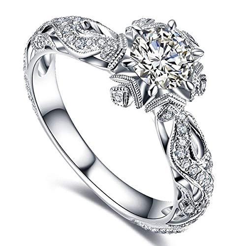 Anillos de Flores de Diamantes Accesorios de Anillo de Princesa de Compromiso de Boda para Mujeres exquisitas de Lujo