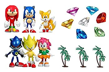 Classic Sonic and Friends 15 Piece Figure Play Set Featuring Sonic Figures Themed Palm Trees and Sonic Themed Gems