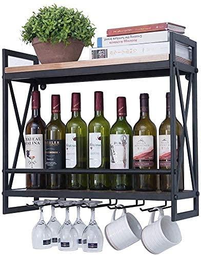 Kacsoo Botellas de vino montado en la pared de 58,4 cm, soporte de metal rústico para colgar vino, diseño de estante de 2 capas con soporte de vidrio de 6 vástagos, adecuado para cocina/sala de estar