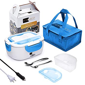 Electric Lunch Box Food Heater - FORABEST 2-In-1 Portable Food Warmer Lunch Box for Car & Home – Leak proof 2 Compartments Removable 304 Stainless Steel Container SS fork & spoon and Carry Bag