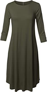 Made by Emma Women's Casual Loose Fit Solid Viscose 3/4 Sleeve Round Neck Midi Dress