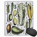 SURERUIM Alfombrilla Raton Arte Vegetal Popular Cebolla Col Alcachofas Espárragos Dieta Vegana Concepto de Bienestar Alfombrilla Gaming Alfombrilla para computadora con Base de Goma Antideslizante