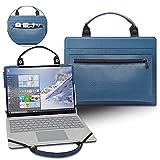 LiuShan 2 in 1 Funda de cuero de PU + bolsa portátil para 14' Dell Chromebook 3400 Education & HP EliteBook 1040 G3/EliteBook 1040 Folio G2/ELITEBOOK 848 745 G4/HP mt43[Not fit EliteBook 1040 G5],Azul