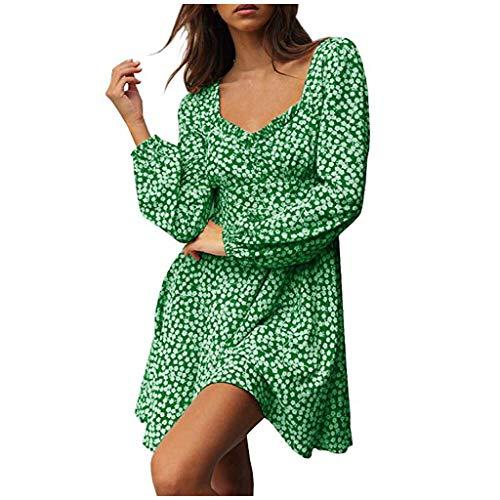 SO-buts Vestido floral con estampado de escote corazón y mangas con volantes para mujer (Verde,XXL)