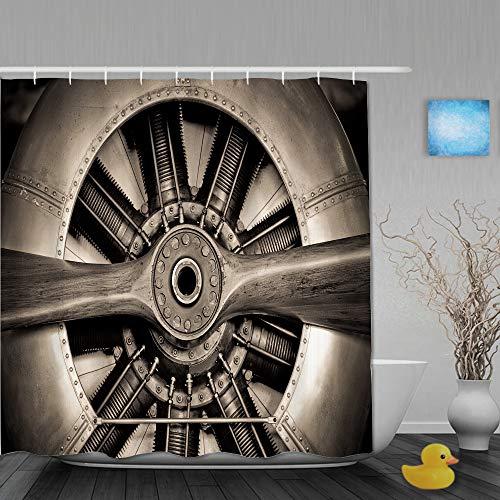 QINCO Duschvorhang,Sepia getönten Vintage Flugzeugmotor & Propeller Nahaufnahme,personalisierte Deko Badezimmer Vorhang,mit Haken,180 * 210