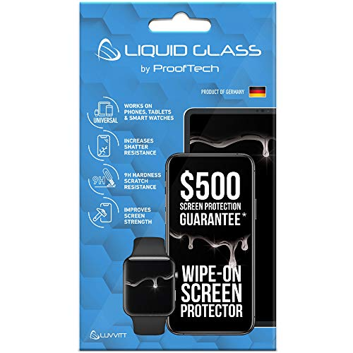 Liquid Glass Screen Protector with $500 Screen Protection Guarantee - Scratch Resistant Wipe On Nano Coating for All Apple Samsung and Other Phones Tablets Smart Watch iPhone iPad Galaxy Universal