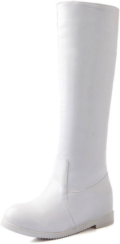WeenFashion Women's Soft Material Zipper Round Closed Toe Kitten-Heels High-Top A16N-84,A,Boots