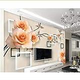 Syssyj Fertigen Sie Jedes Wandgemäldewohnzimmer Der Größe 3D, Moderne Stilvolle Moderne Geprägte Tapete Des Rosen-Fotos 3D Besonders An-200X140CM