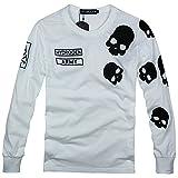 HYDROGEN メンズ Tシャツ コットン 綿 100% カジュアル 長袖 大きいサイズ ドクロ スカル ロゴ プリント 2色 18724399 (M, ホワイト) [並行輸入品]
