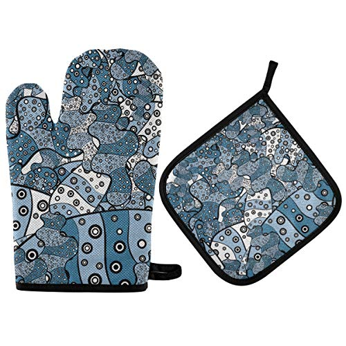 Oven Mitts and Pot Holder Oven Gloves Graffiti of White Black Blue Non-Slip Hot Pads Insulation Gloves Heat Resistant Kitchen Set for Cooking Baking Grilling BBQ