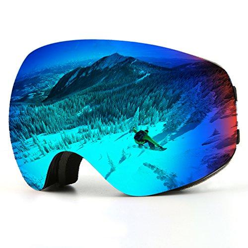 Skibrille, Over Glasses Snowboardbrillen für Männer Frauen Jugendliche oder - UV400 Schutz und Anti-Fog - Double Grey Sphärische Linse bequem zum Skaten Skifahren Schneemobile (Schwarz-Erwachsener)