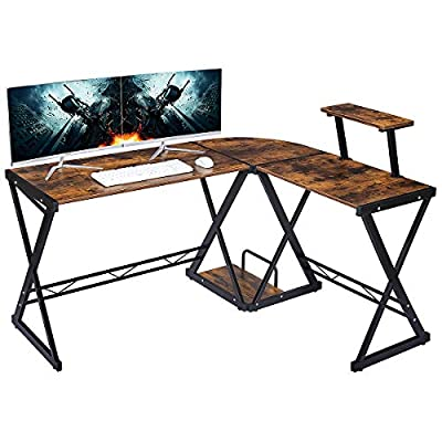 GreenForest L Shaped Office Computer Corner Gaming Desk with Moveable Shelf