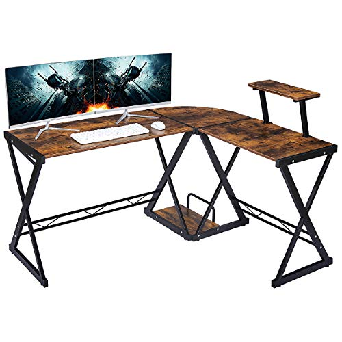 GreenForest L Shaped Office Computer Corner Gaming Desk with Moveable Shelf, 58' x 44' PC Table Workstation for Home Office, Black