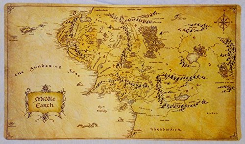 """Masters of trade Lord of The Rings Middle Earth Map LOTR TCG playmat, gamemat 24"""" Wide 14"""" Tall for Trading Card Game Smooth Cloth Surface Rubber Base"""
