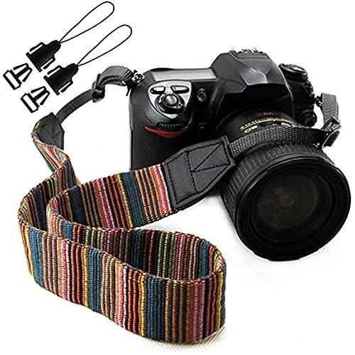 Wieehtes Kameragurt Vintage Damen Kamera Schultergurt HalsTragegurt für Kompakte Kameras von Canon, Nikon, Sony, Fujifilm, Olympus, Leica etc.(Mehrfarbig)