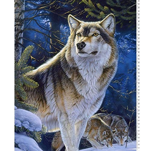 Wolf Fabric Panel Sentinel in Multi Digital Printed from David Textiles 100% Premium Quality Cotton