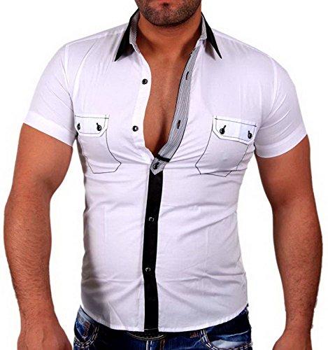 KICKDOWN Herren Kurzarmhemd Freizeithemd Business Hemd Shirt Slim Fit Weiß 7189, Größen:S