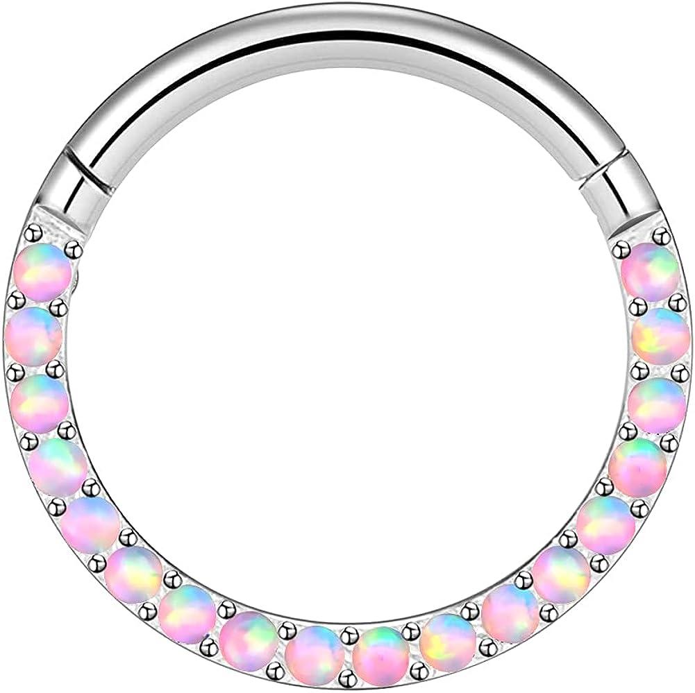 AVNIS Helix Rings Piercing – Hinged Nose Ring Hoop – 16G Opal Stone Septum Ring – Tragus Earrings for Women – Versatile Helix Piercing Jewelry