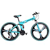 26 inch 21 Speed Folding Mountain Bike City Commuter Bike Road Bike Outroad Bike | Full Suspension MTB Carbon Steel Double Disc Brake | Women Men Outdoor Racing Cycling Outroad Commute Fitness | Blue