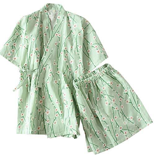Trajes de estilo japonés de las mujeres elegantes de manga larga traje de pijama de algodón kimono conjunto de bata- # A