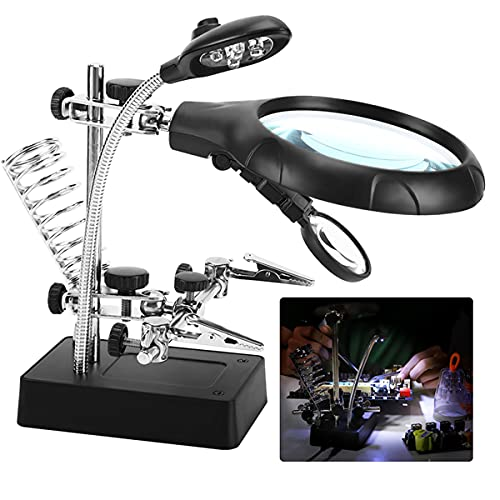 Desktop Magnifying Glass Soldering Station, 2.5X-7.5X-10X LED Light Magnifier & Desk Lamp Helping Hands Auxiliary Clips Alligator Clamp Stand Repair Tool Kits for Small Items, Miniatures Projects