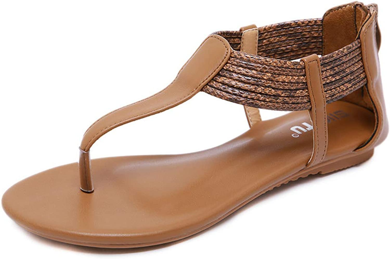 Women's Flat T-Strap Bar Sandals for Women Roman Gladiator Sandals Flats,Brown,US7B(M)