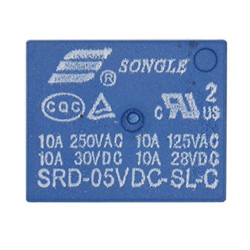 Heschen - SRD-05VDC-SL-C DC - Relé de placa de PC, 5V, bobina SPDT 10A 250VAC, terminales de 5 pines, 2 paquetes