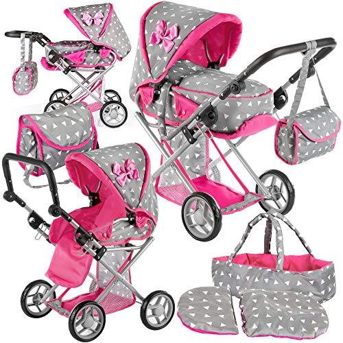 Kinderplay Puppenwagen ab 1 2 3 Jahre Kinderwagen Spielzeug - Grau Kombi, 3 in 1, Spielzeug Draussen, Puppenwagen mit Herausnehmbarer Tragetasche und Umhängetasche, Höhenverstellbar bis 62 cm, KP0200S